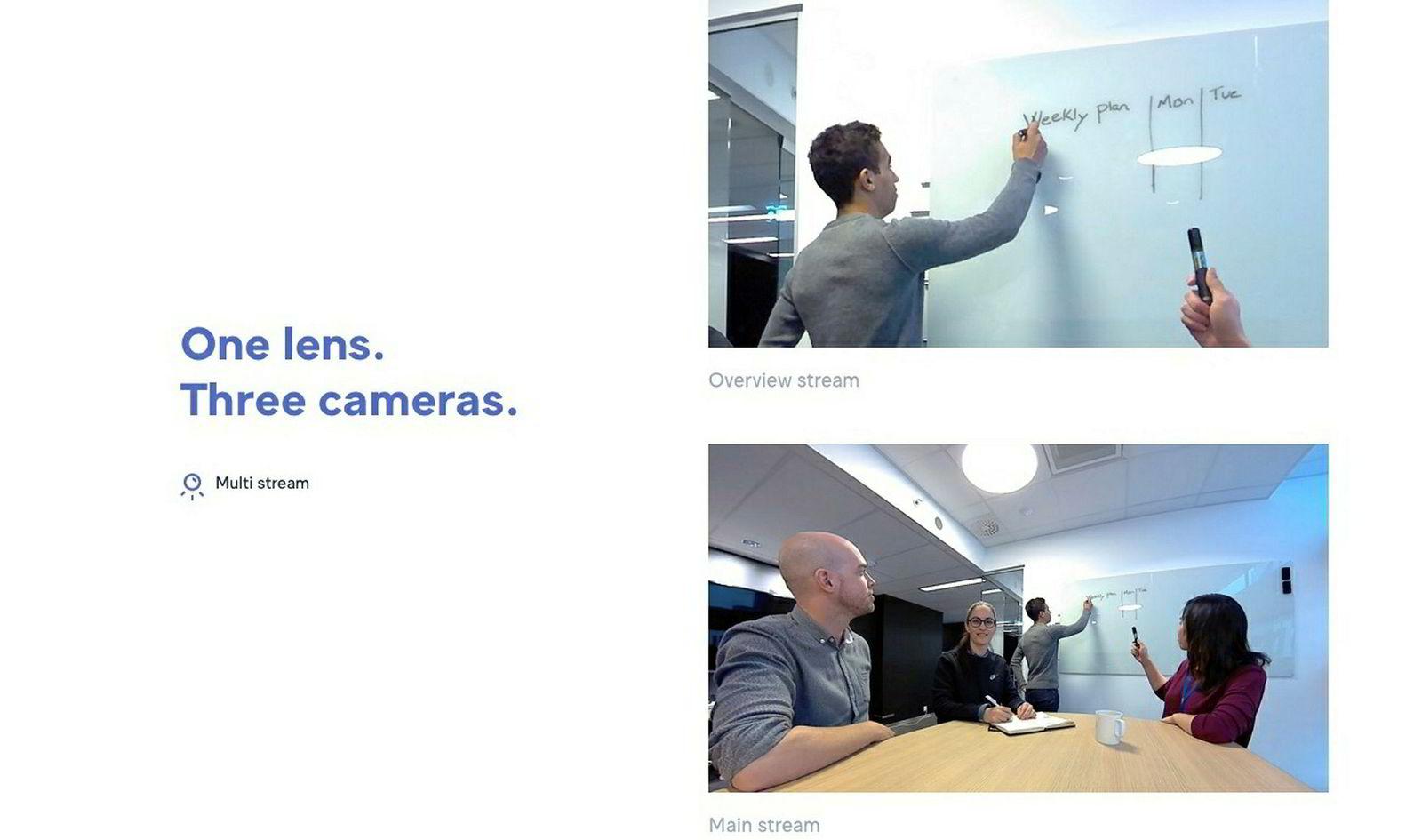 En av funksjonene til Huddly Go er å vise tre videostrømmer fra ett og samme kamera. For eksempel kan kameraet vise både alle deltagerne i en konferanse og hva som skrives på en tavle lenger unna, samtidig.