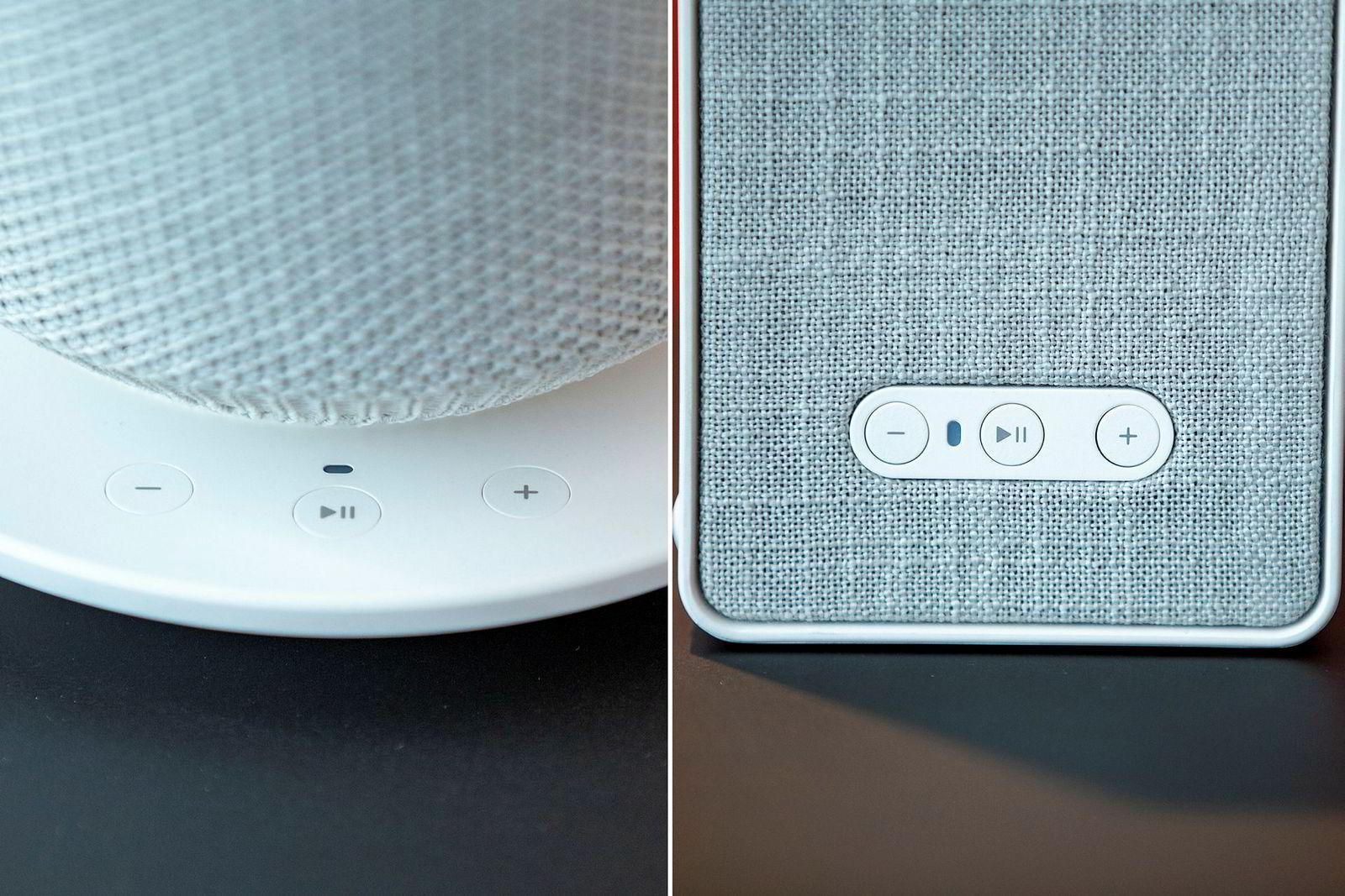 Symfonisk-høyttalerne har de samme knappene som Sonos pleier å ha, diskret innfelt.