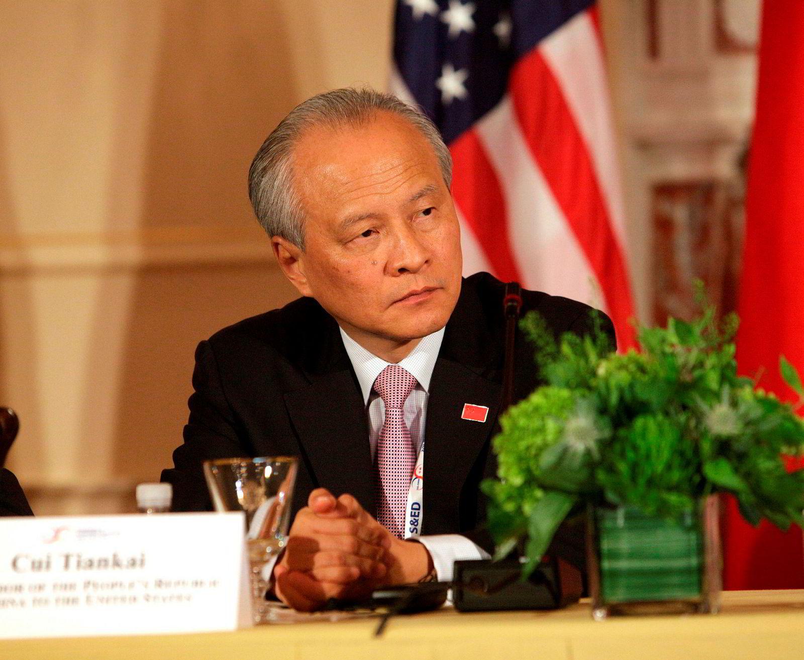 Kinas USA-ambassadør Cui Tiankai (her fra 2015) er kritisk til hva han mener er farlig retorikk. – Vi må være på vakt mot ødeleggende krefter som utnytter den pågående handelsfriksjonen, sa Cui under en middag i Washington, D.C. i forrige uke.