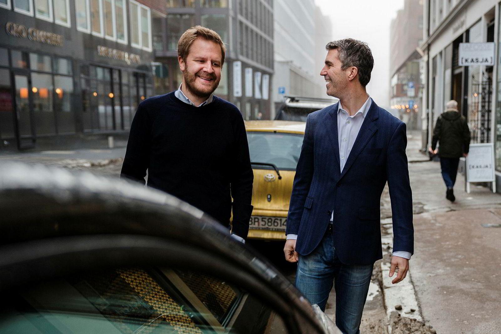 Daglig leder Even Heggernes (til venstre) og konsernsjef Jacob Tveraabak i Miklagruppen, som er eier i Nabobil. Tveraabak er også medgründer i Nabobil.