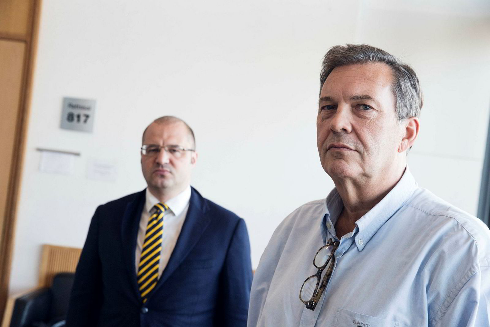 Jan Vestrum i Oslo tingrett høsten 2018. Her med sin forsvarer, advokat Håkon Juell Hassel i advokatfirmaet Elden.