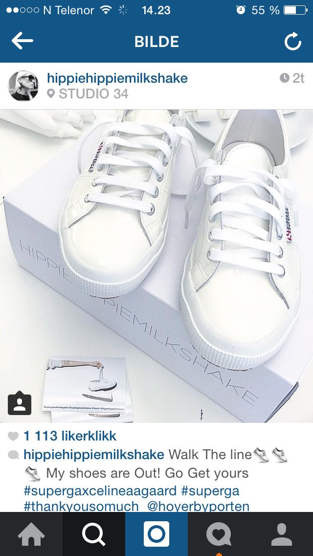 Celine Aagaard om sine nye sko på Instagram tirsdag.