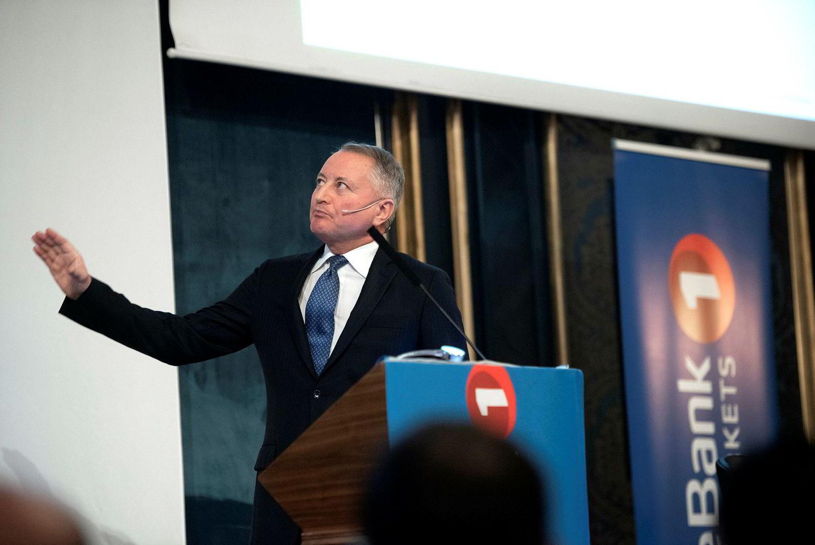 Geir Aune har lansert flere oljeserviceprosjekter de siste årene. Her er han fra Sparebank 1 Markets energikonferanse i slutten av februar i år, der han presenterte riggselskapet Production Drilling som styreformann for selskapet. Han ønsket å hente 2,9 milliarder kroner og notere det på OTC-listen.