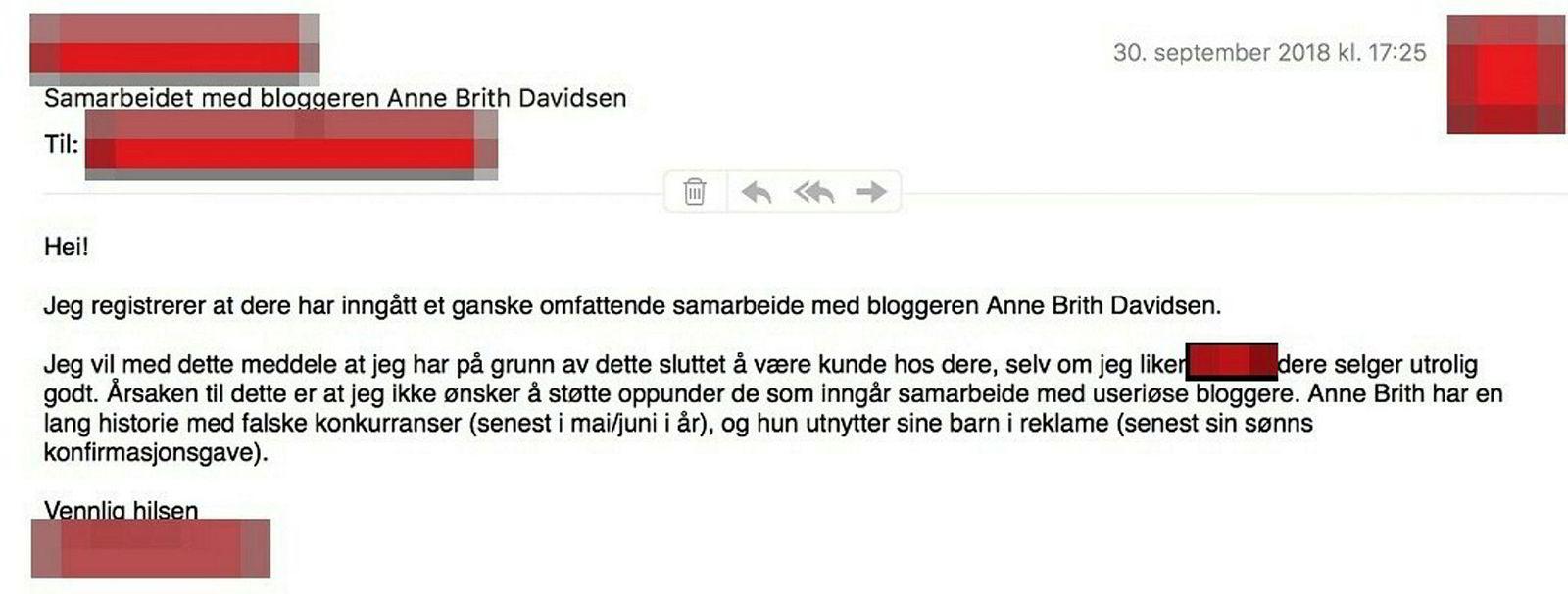 Eposten som Gry Monica Engen sendte til en av Davidsens kommersielle samarbeidspartnere.
