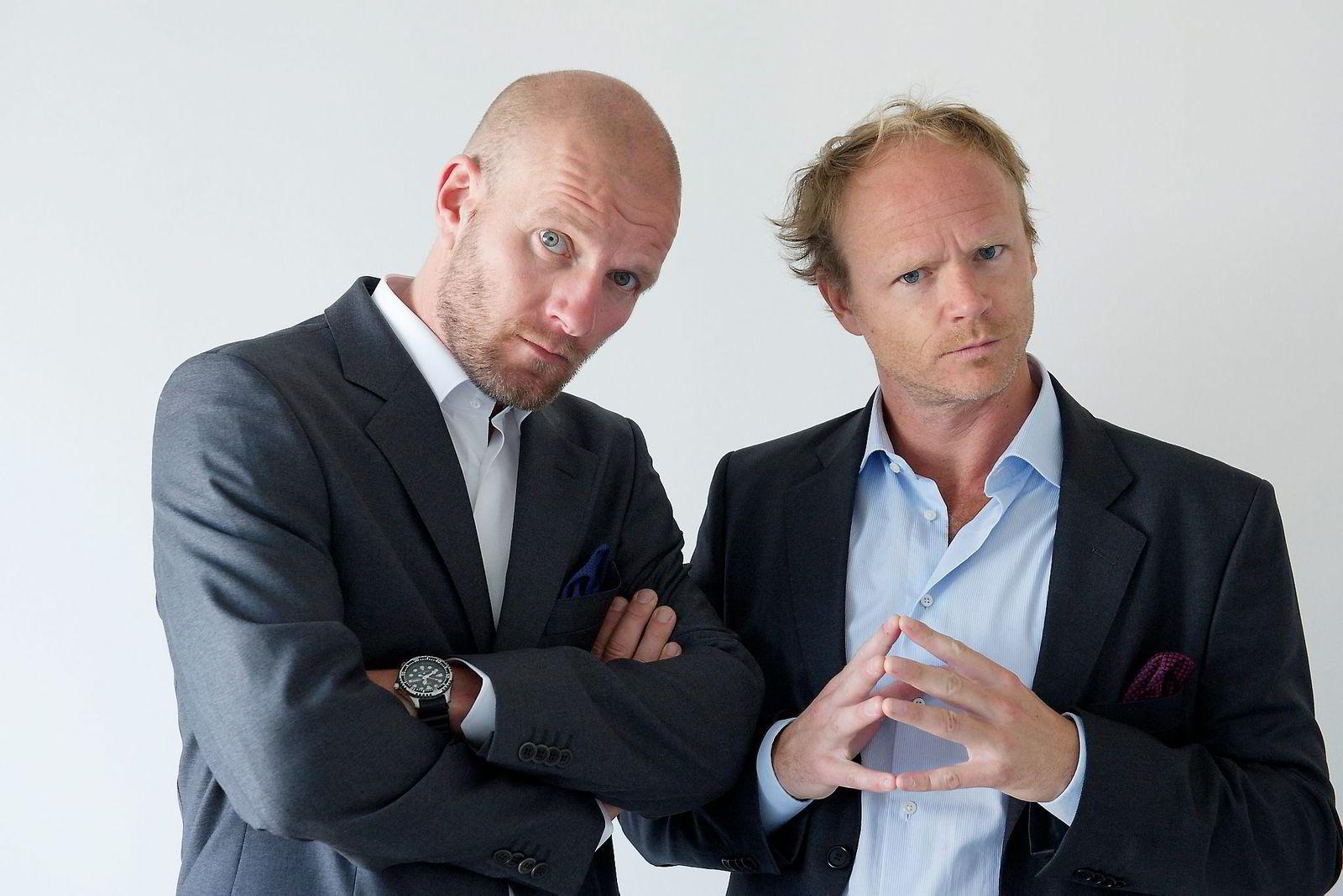 Bård Tufte Johansen og Harald Eia ble i 2013 en del av Thomas Giertsens humorteam da Feelgood kjøpte Funkenhauser. Foto:NRK