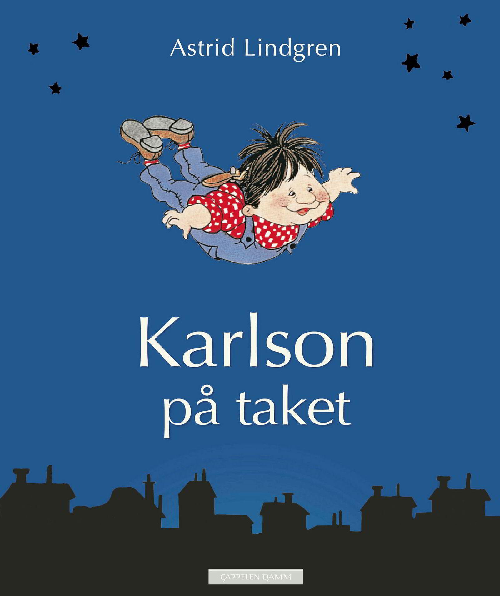 Astrid Lindgrens «Karlson på taket» ligger øverst på nattbordet til Marius Øvrebø-Engemoen. Faksimile: Cappelen Damm