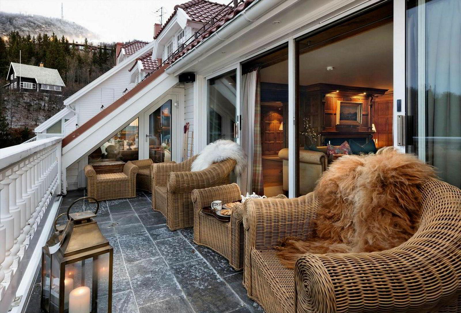 Terrassen i leiligheten.