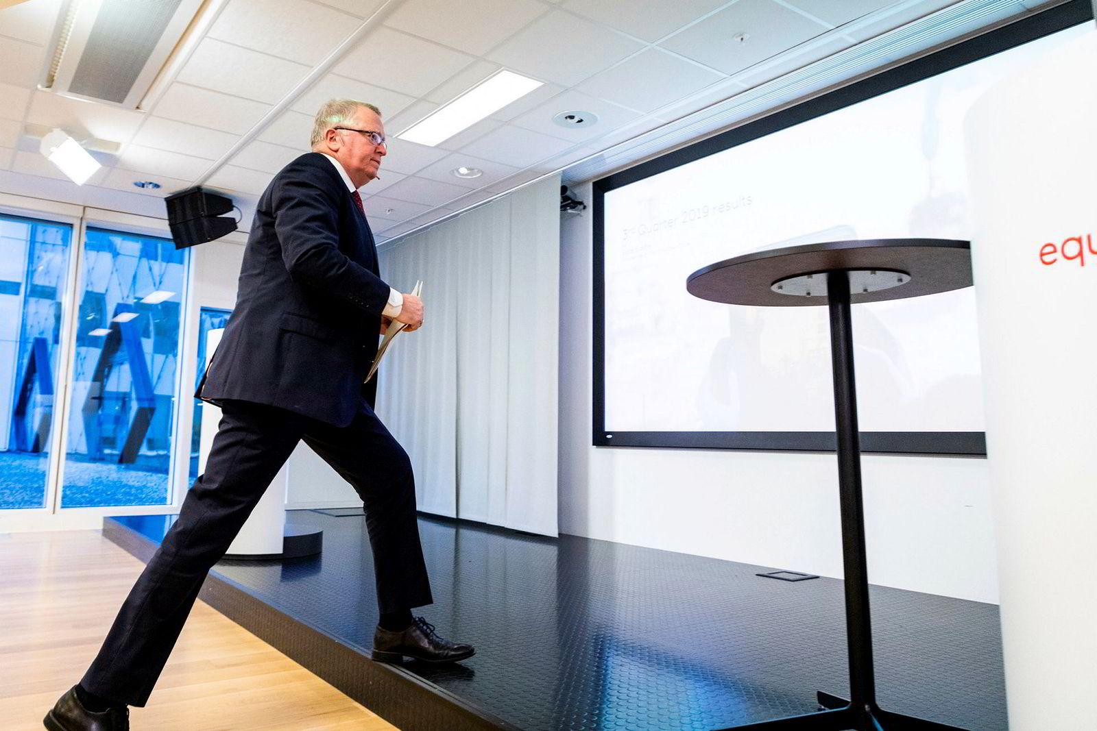 Konsernsjef Eldar Sætre presenterte torsdag morgen kvartalsresultatet i Equinors lokaler på Fornebu.