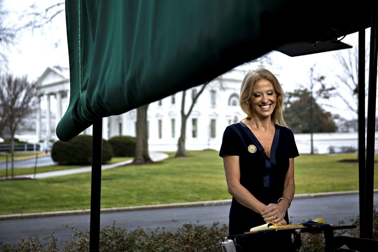 Kellyanne Conway, utenfor Det hvite hus.