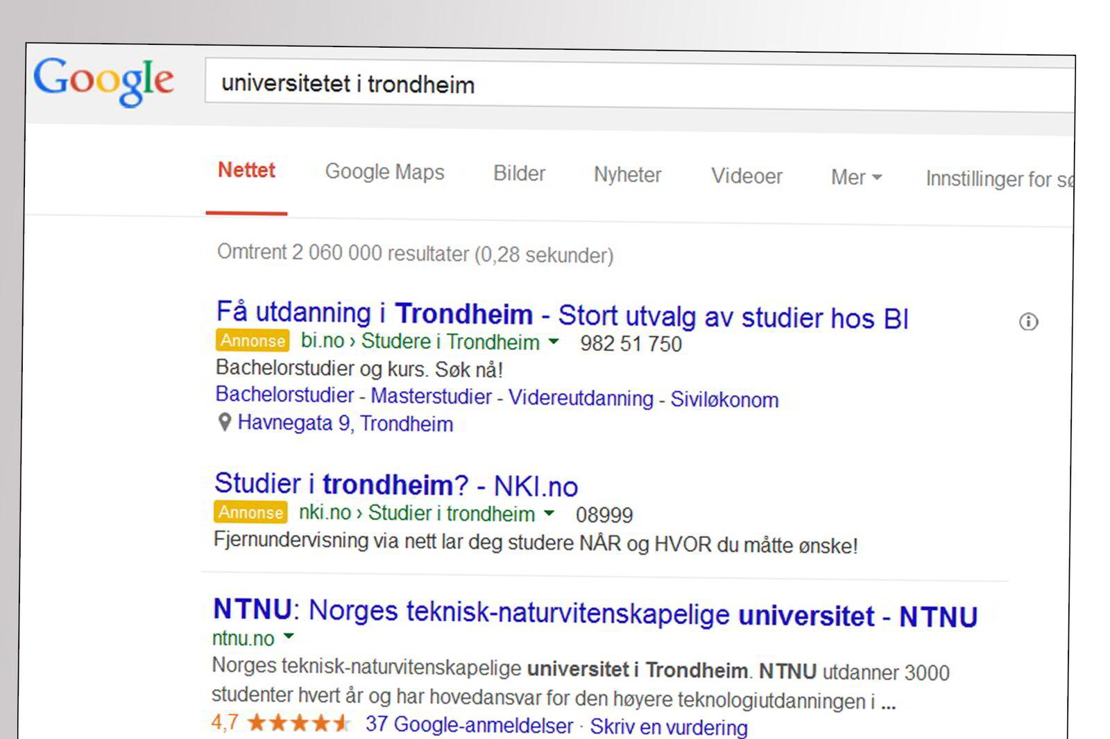UNIVERSITETET I TRONDHEIM. Er kuppet av BI og NKI Nettstudier, som har kjøpt søkeord på Google.