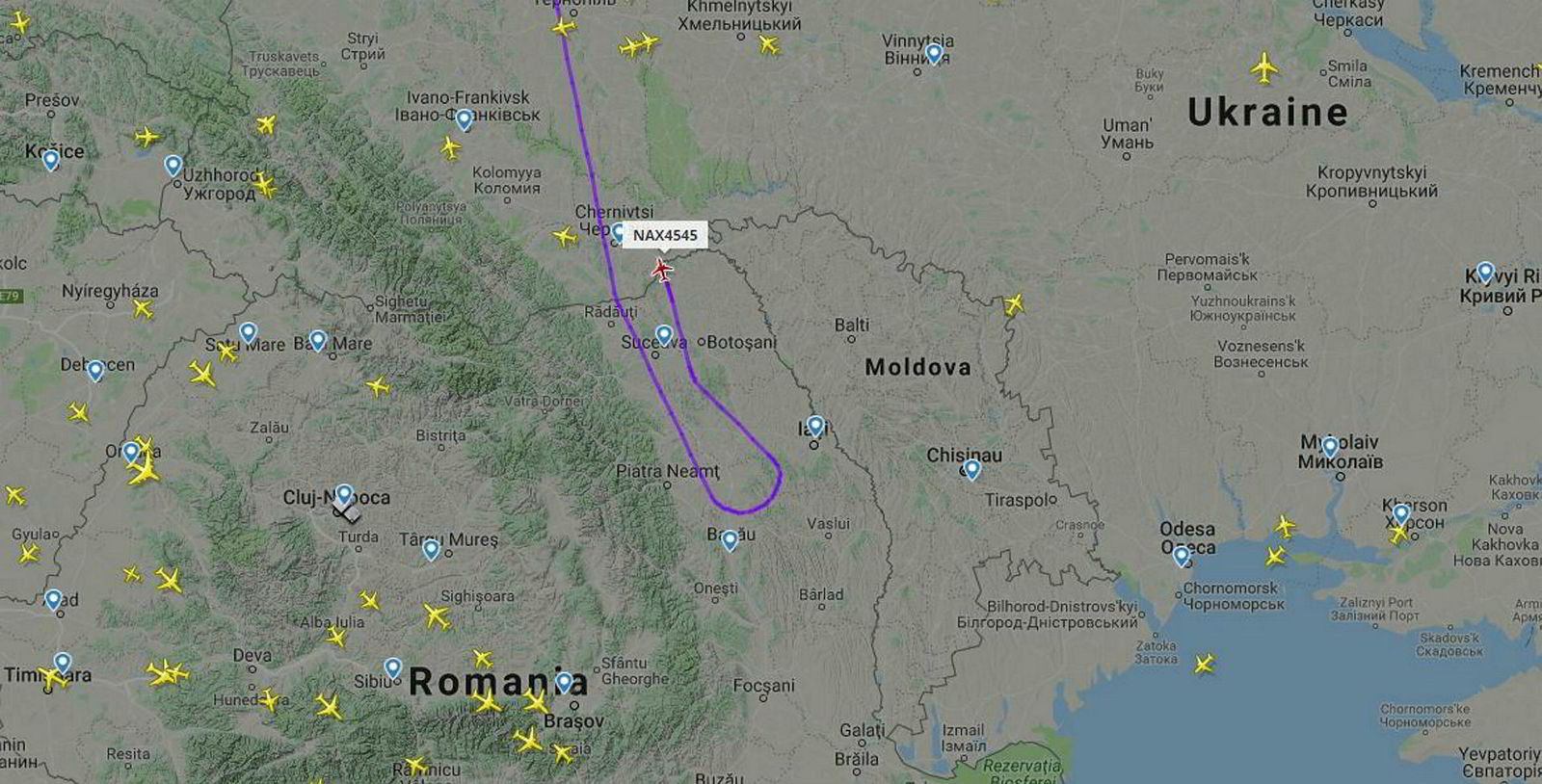 Flyvning DY4545 fra Stockholm til Tel Aviv snudde tirsdag ettermiddag og fløy nordover tilbake til Stockholm