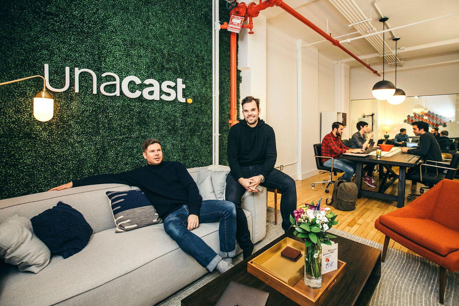 Kjartan Slette og Thomas Walle på Unacasts kontor, rett rundt hjørnet for Empire State Building på Manhattan i New York.