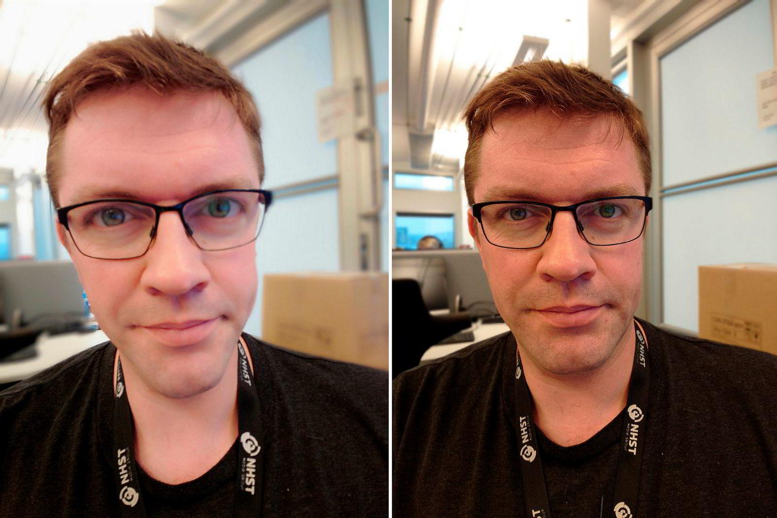 Xperia XZ3 har en egen selfie-modus med skjønnhetsfiltre. Slik går det når man setter alle filtrene på maks. Begge bilder er Xperia XZ3.