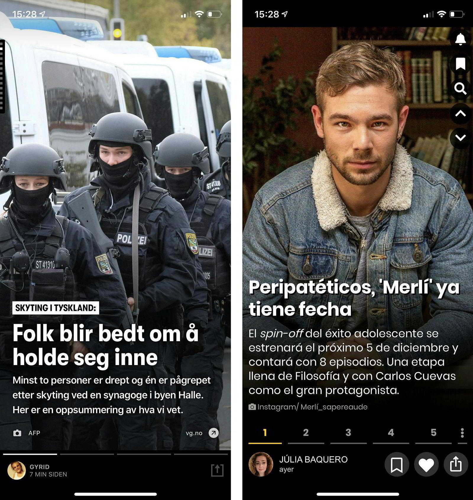 Skjermbilder av Peil (t.v.) og Van Stories.