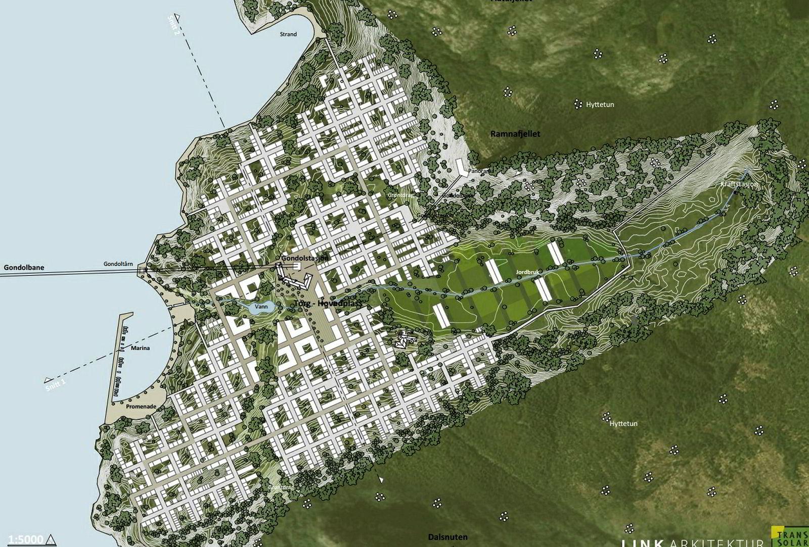 Kvadratstruktuen i byplanen er streng, og fyller opp så godt som alt flatt land på Dale med unntak av landbruksområdet.