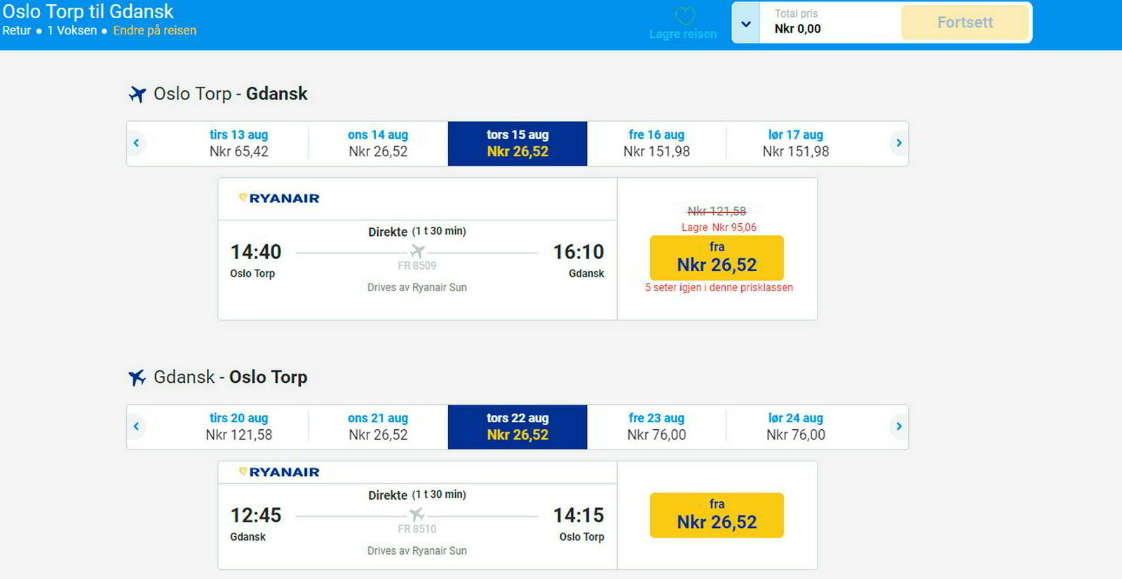 For 53 kroner kan du fly tur-retur Torp - Gdansk.