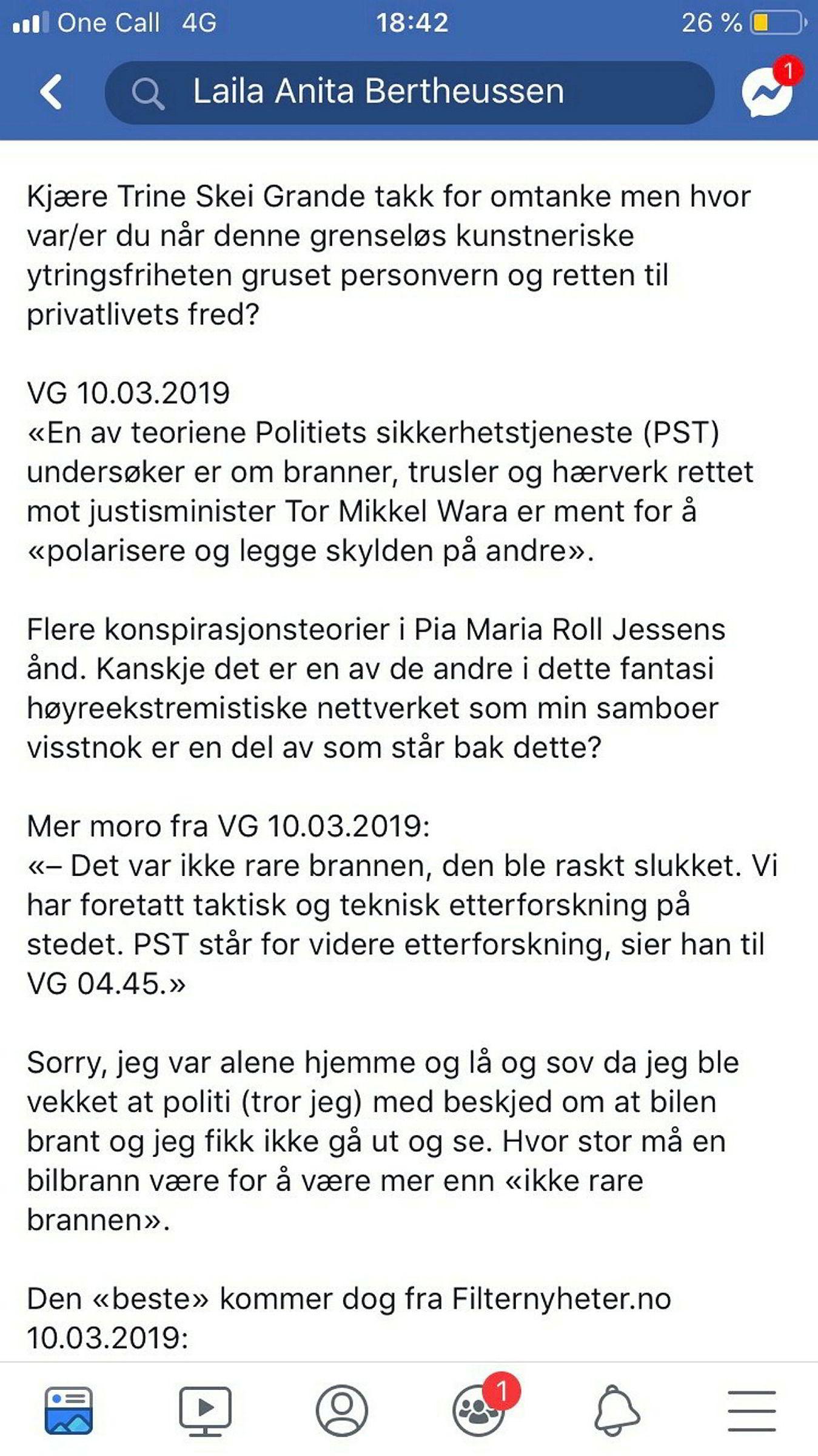 Dette publiserte Bertheussen på sin Facebook-side mandag 11 mars, en dag etter at politiet rykket ut til Wara sin påtente bil. Et forhold som Berheussen ble pågrepet og siket for torsdag. Denne Facebook-posten er nå slettet.