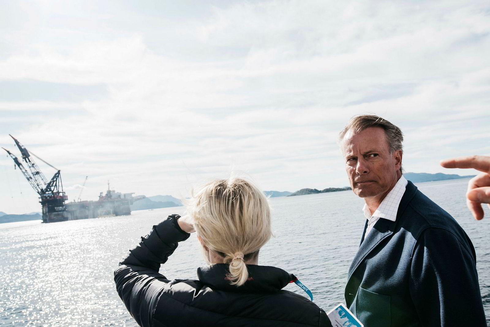 Stord, 4. september 2017:Aibel-eier Johan H. Andresen er en av dem som har nytt godt av utbyggingen. Her fra sammenstillingen utenfor Stord.