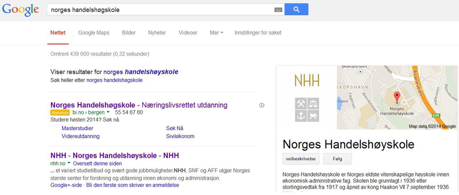 MED G, IKKE Y. Feilstaver man Norges Handelshøyskole, dukker BI opp på Googles førsteplass.