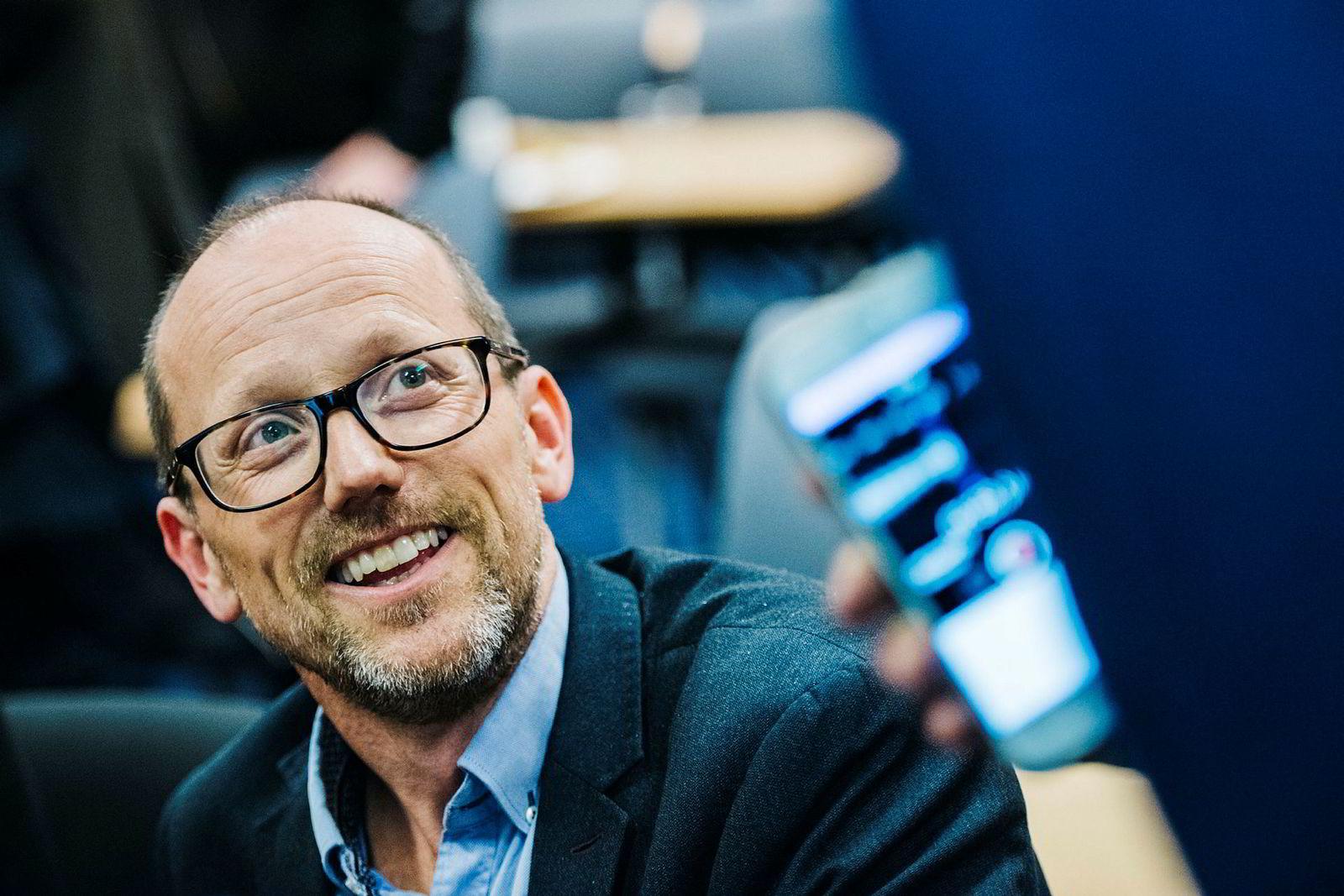 Per Magne Tveiten, konsernsjef i Mentor Medier under ekstraordinær generalforsamling mandag.