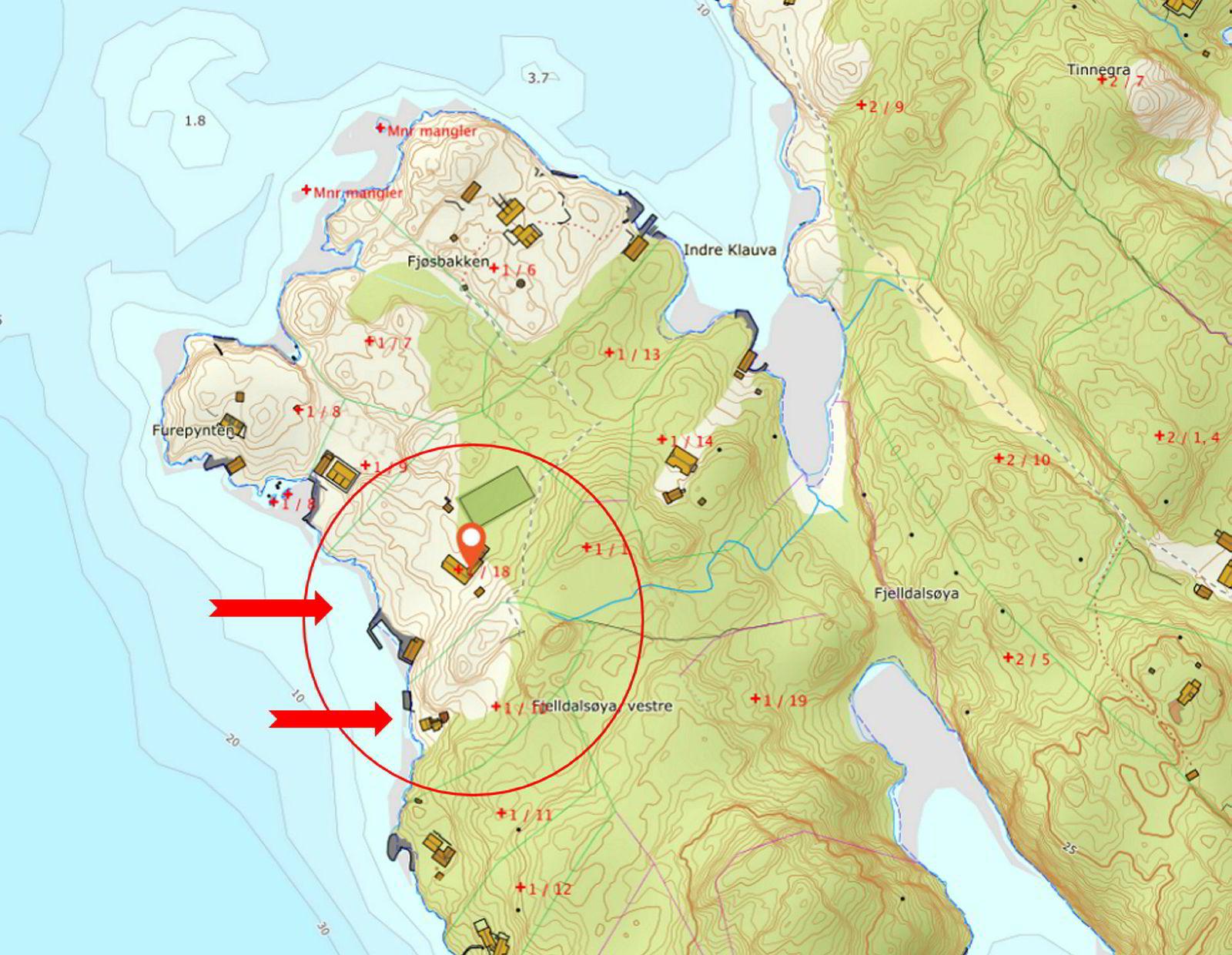 Smedvigs eiendommer på Fjelldalsøya utenfor Lillesand.