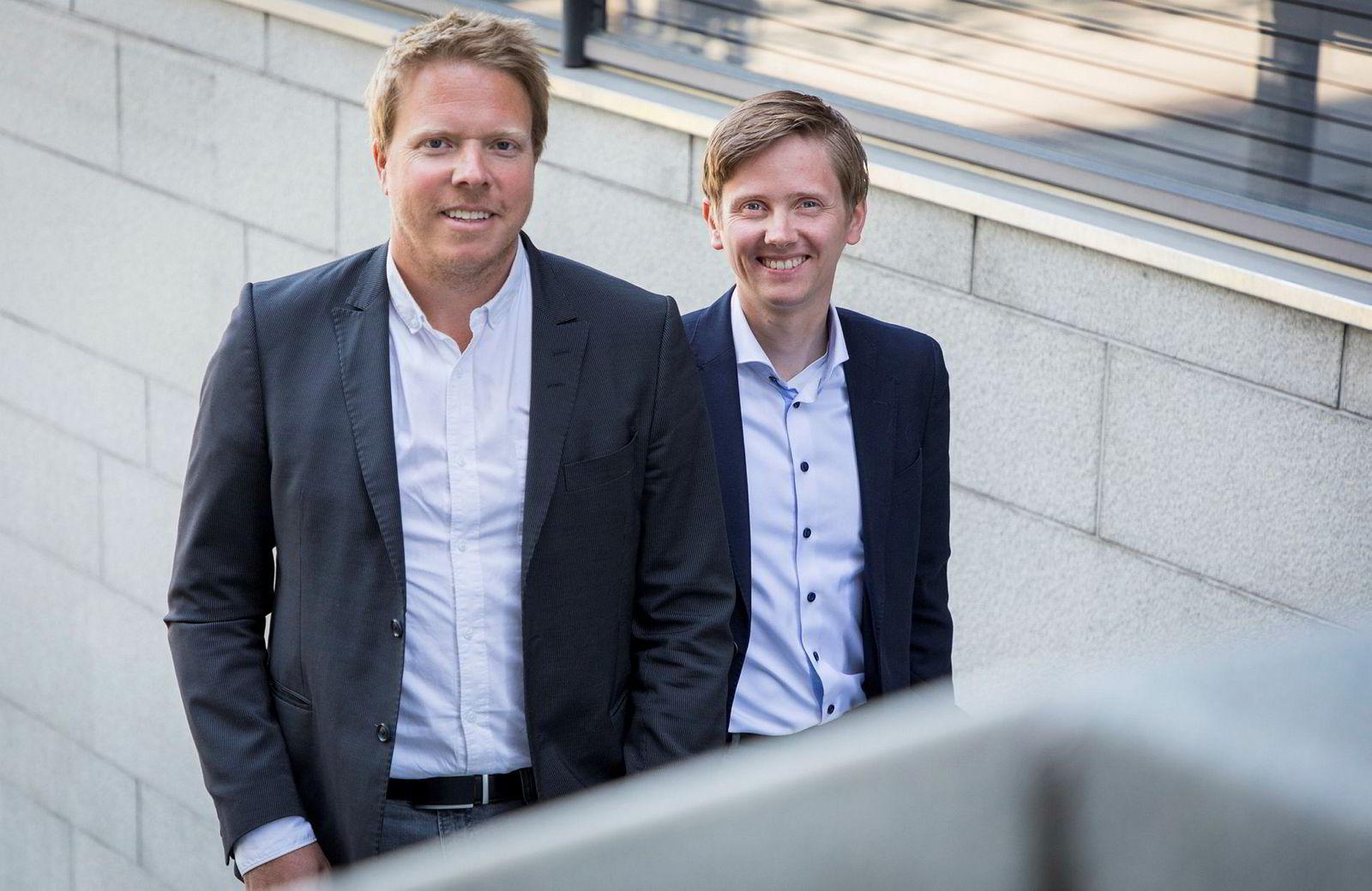 Vi skal bli betydelig større enn det vi er nå, sier administrerende direktør Eivind Helgaker (til venstre) i Ice. Ved hans side står kommunikasjonsdirektør Reynir Jóhannsson i Ice.