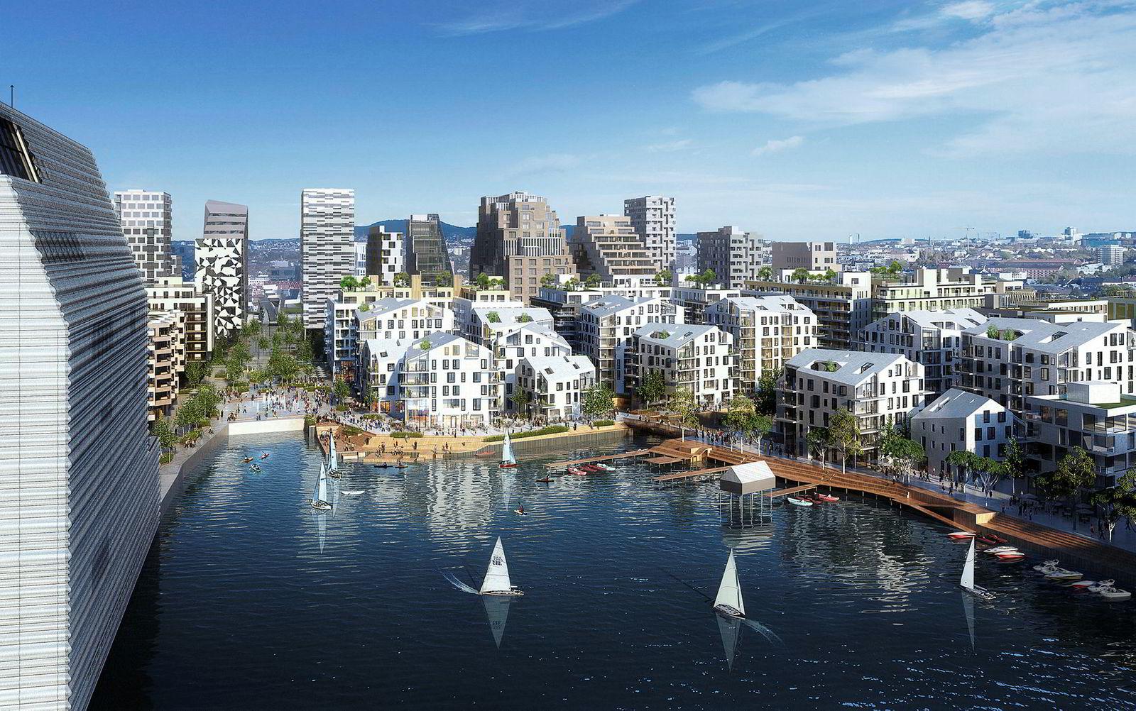 Flere av leilighetene i prosjektet Vannkunsten i Bjørvika har direkte adgang til sjøen fra vannkanten fra balkongen, og har ifølge prospektet egen kajakkplass på trappen. Toppleilighetene på 140 kvadratmeter er priset til 24 millioner kroner.
