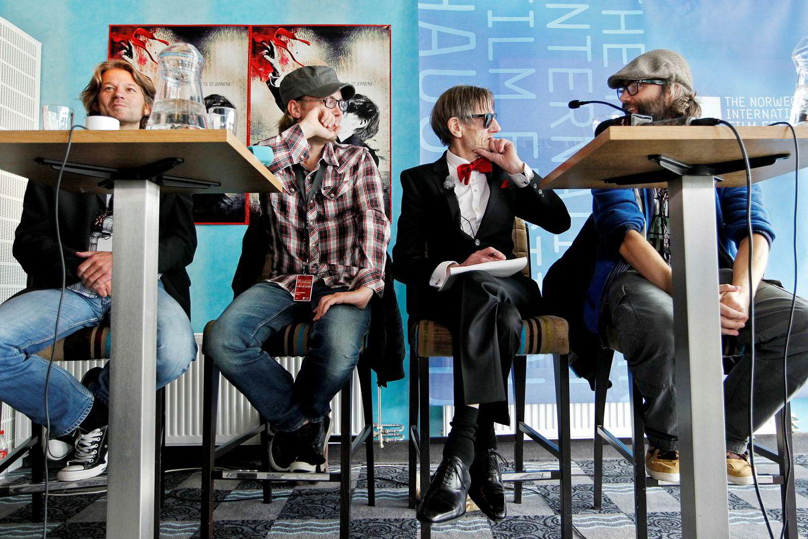 Produsent Carsten Aanonsen, co-regissør August B. Hanssen, Terje «Pushwagner» Brofos og regissør Even Benestad under en pressekonferanse i Haugesund forbindelse med dokumentarfilmen «Pushwagner».