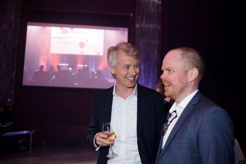 TV 2-sjef Olav Sandnes i samtale med VG-redaktør Gard Steiro.