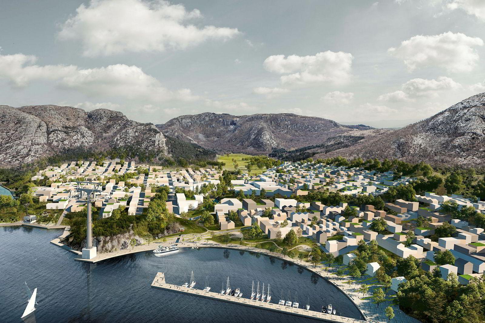 Slik ser byutviklingsplanene ut sett fra fjorden. Gondolbane-tårnet nede til venstre. Hovedbygningen fra det gamle psykiatriske sykehuset, som i dag ligger over bukten midt i bildet, er borte i planene.