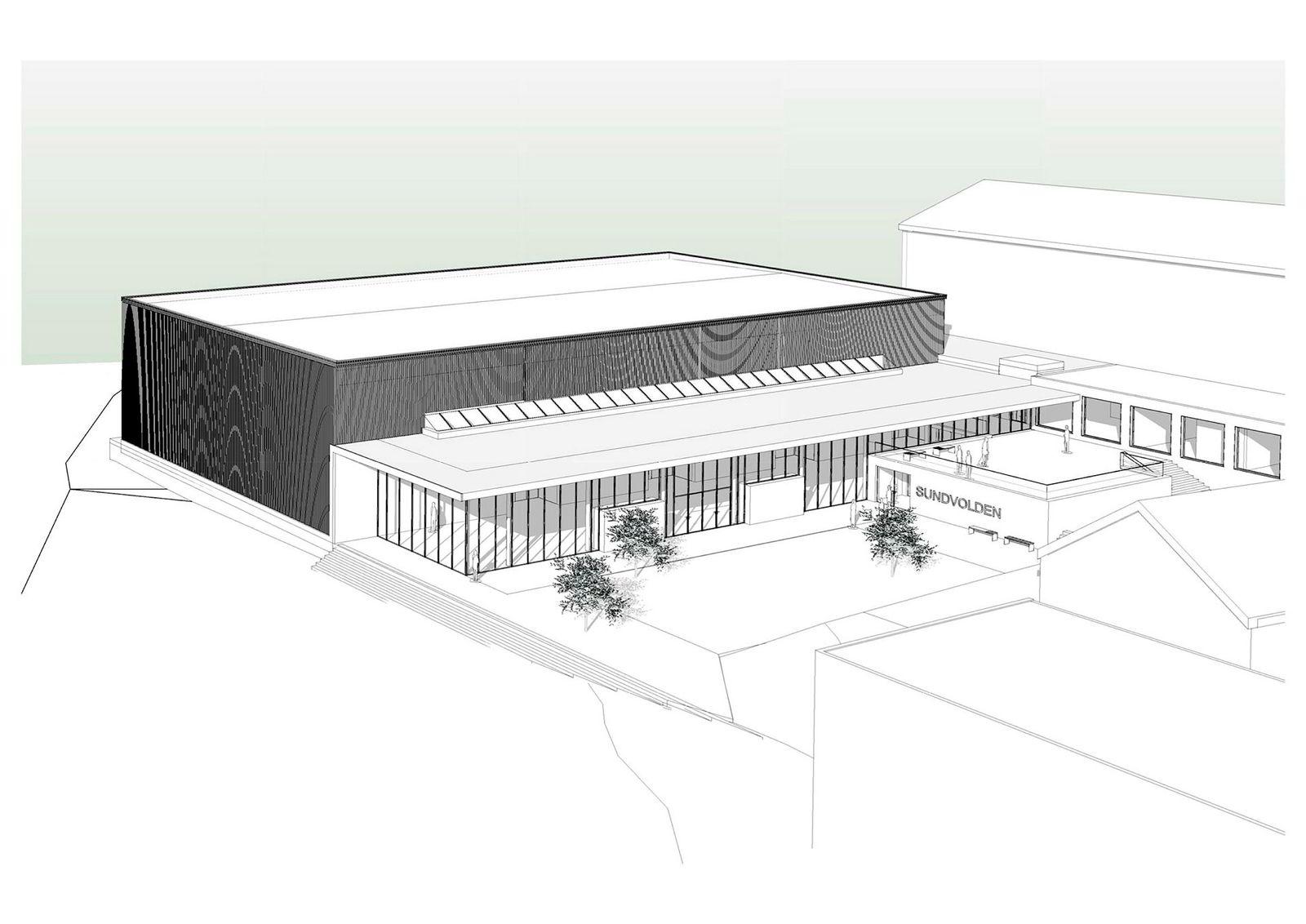 Den nye kongresshallen på tunet ved Sundvolden hotell skal etter planen stå ferdig høsten 2017.