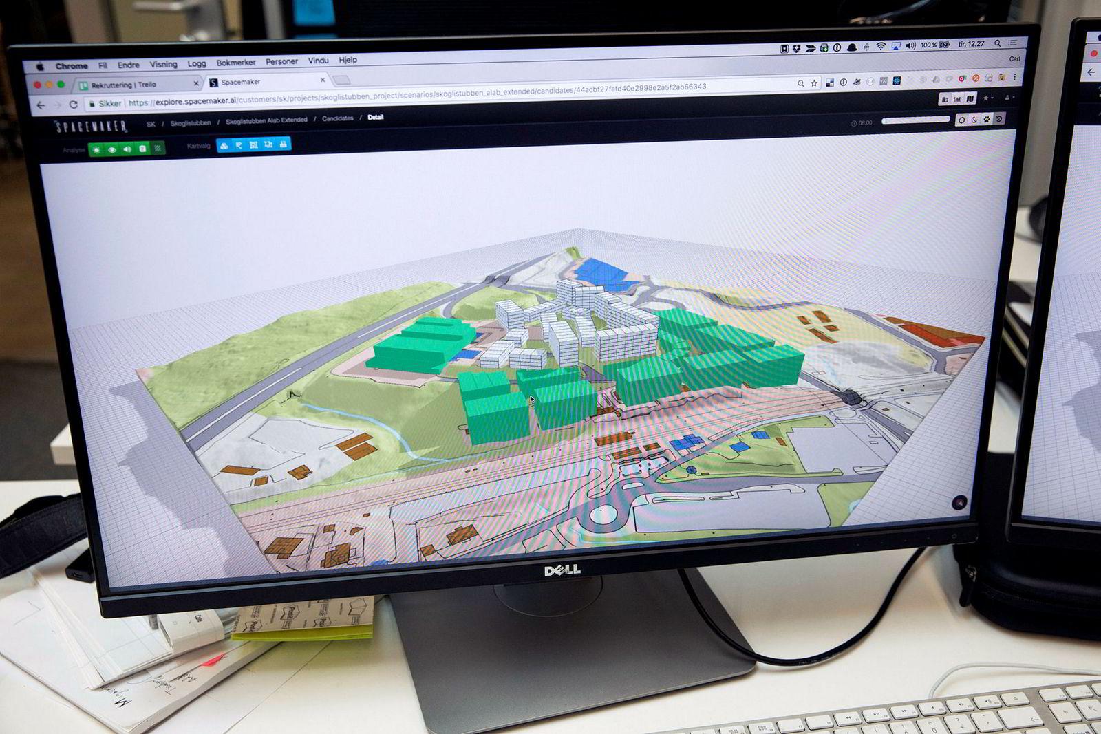 Bildet viser en skisse fra arbeidet med en 27 mål stor tomt i Lørenskog hvor det skal plasseres både boliger og næringseiendom.