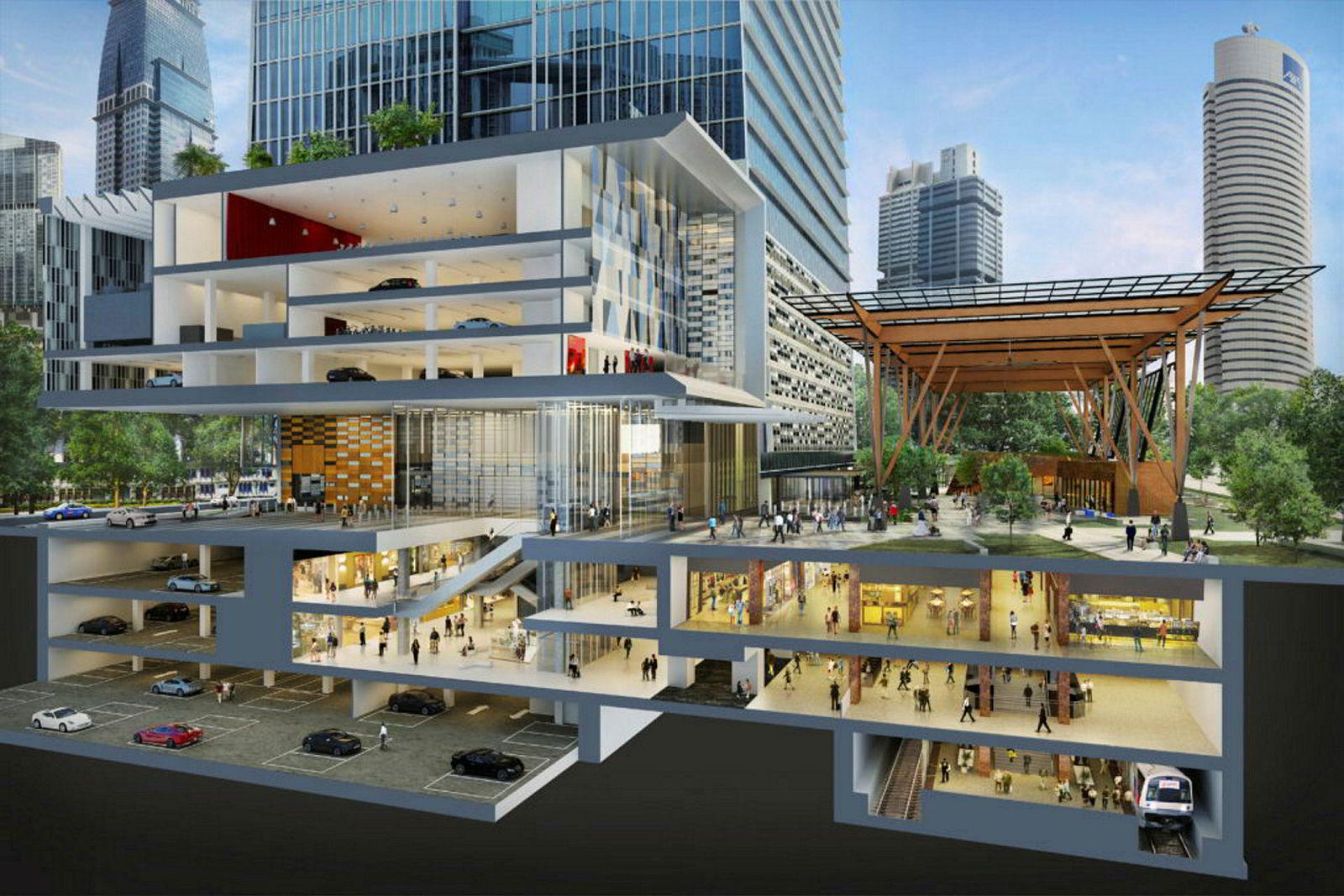Boligene, kontorene og hotellet i Tanjon Pagar Centre får direkte adgang til Singapores undergrunnsbane (MRT).