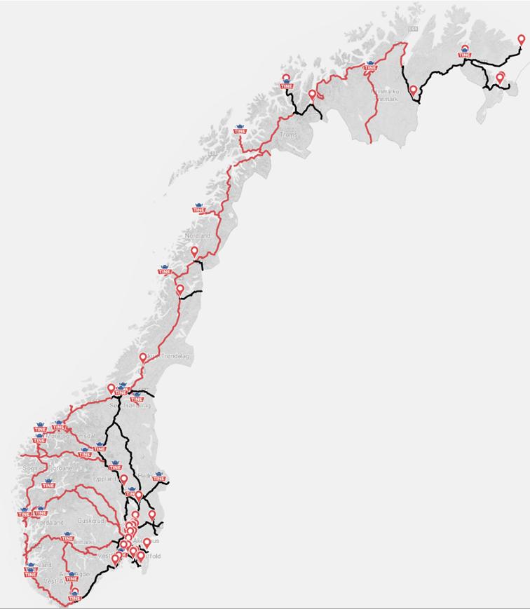Tine søker om å benytte modulvogntog på et landsomfattende nett markert i rødt. Fra før kan vogntogene kjøre på de svarte strekningene.