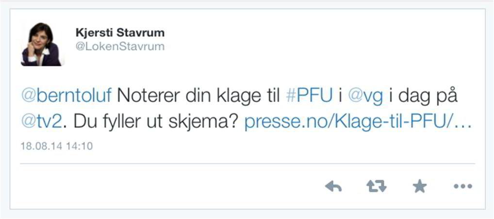 Kjersti Løken Stavrum tvitrer som generalsekretær i Norsk Presseforbund.