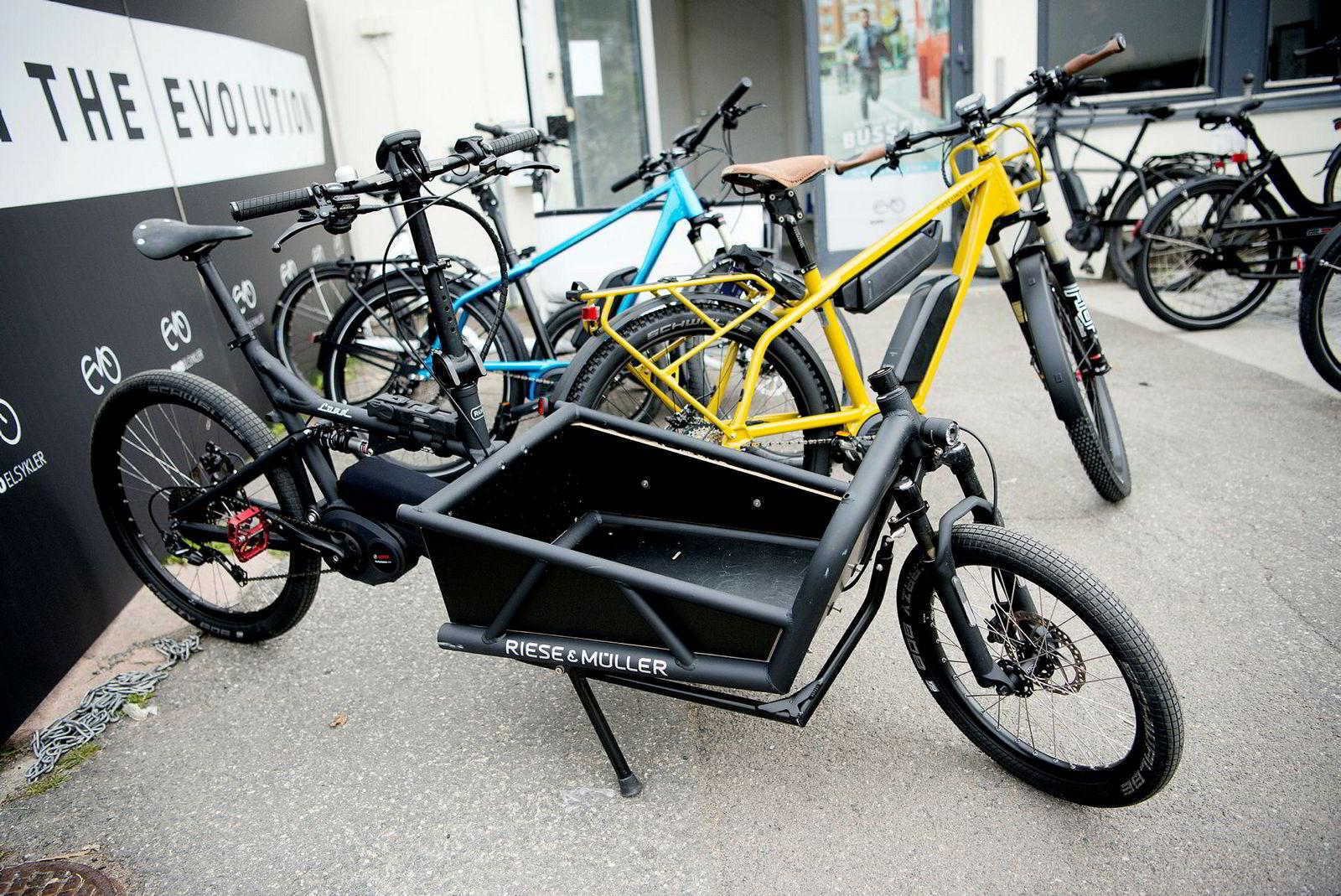 Såkalte lastesykler med større lastekapasitet er blitt populære blant en del kunder.
