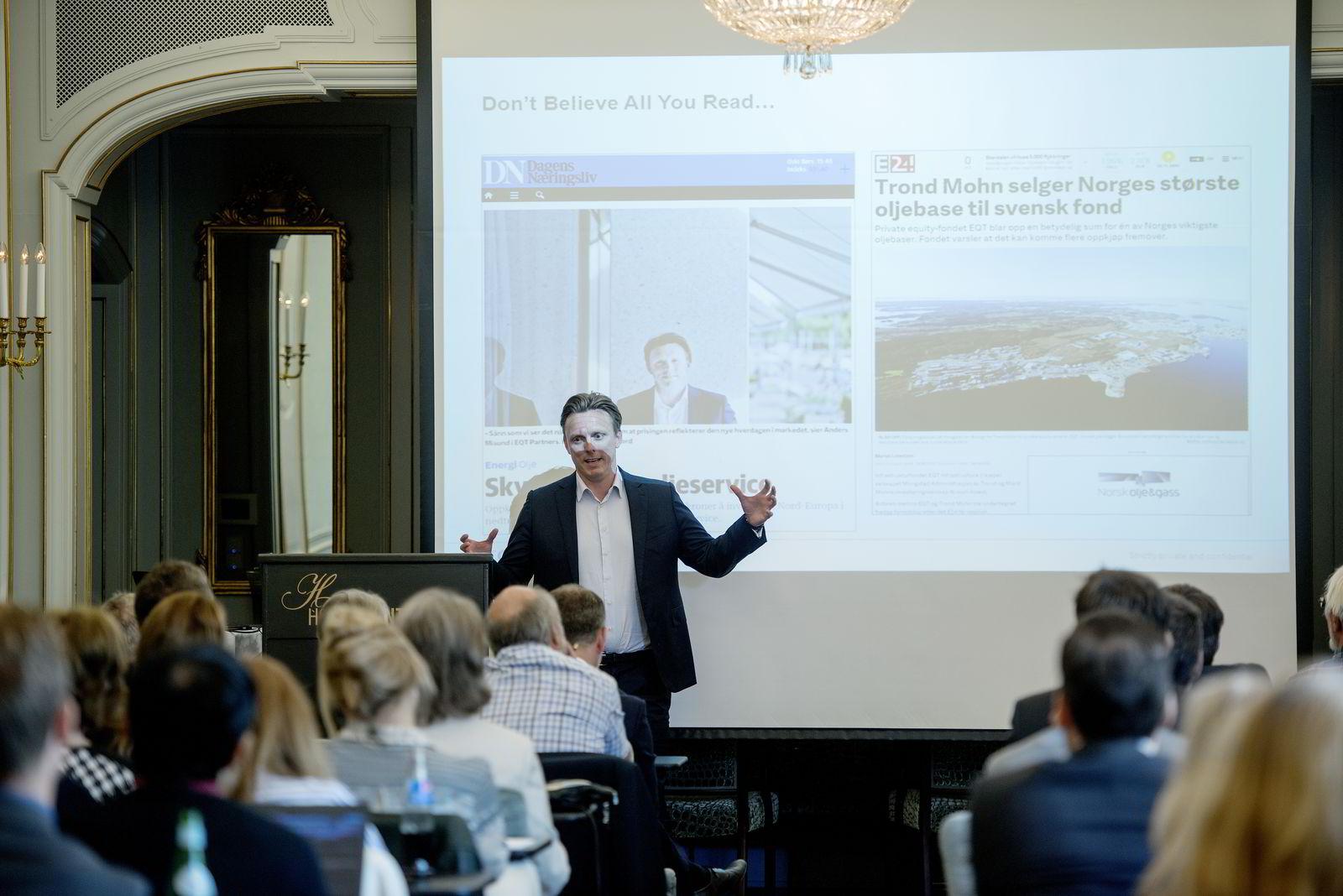 EQT-parnter Anders Misund, investorseminar i regi av Alfred Berg, 9. sep. 2015.