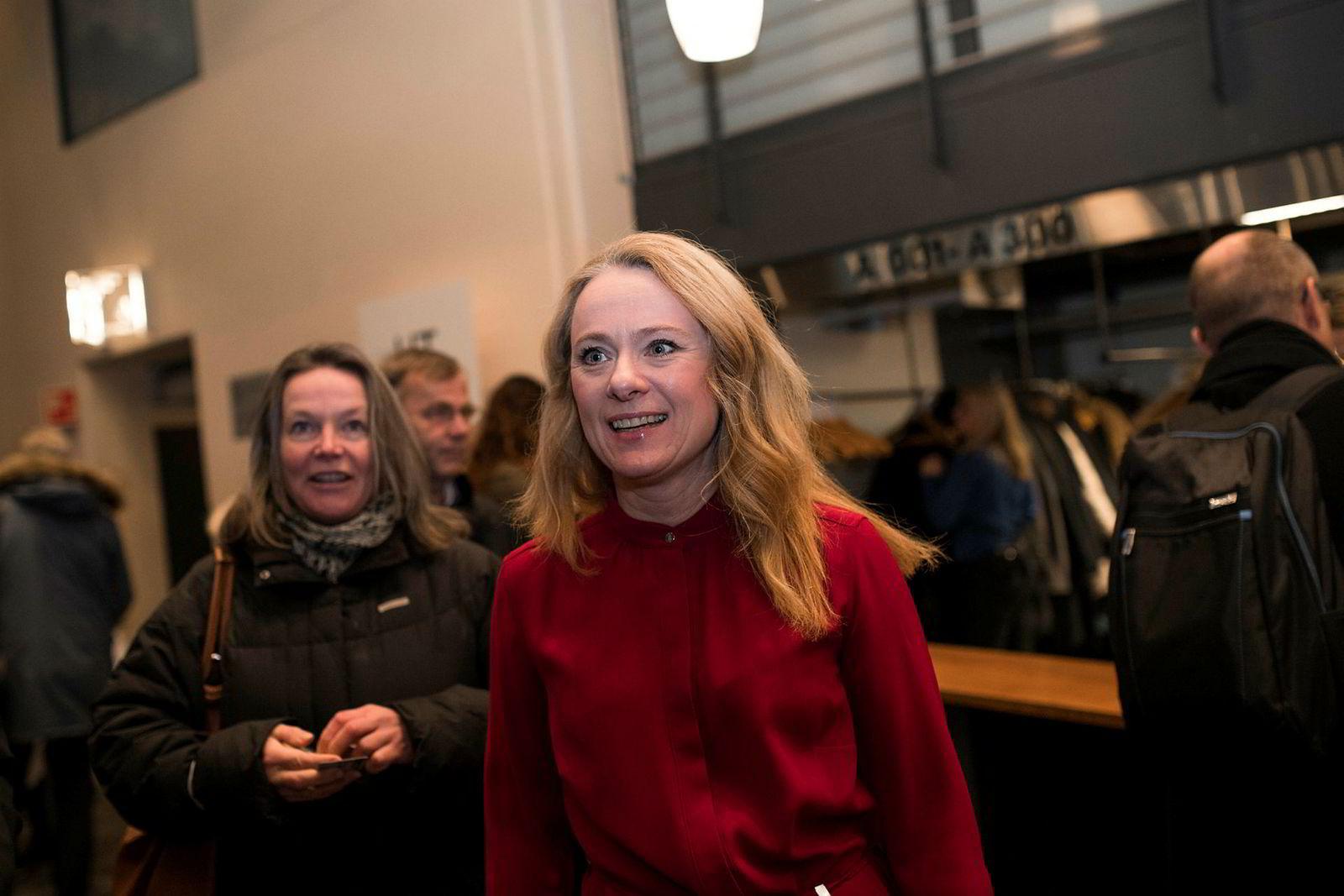 Arbeids- og sosialminister Anniken Hauglie på NHOs årskonferanse.