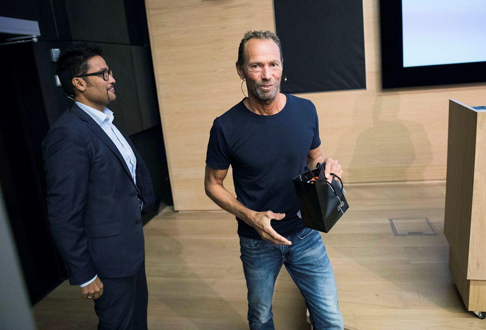 Eiendomsinvestor Ivar Tollefsen (til høyre), på DNBs eiendomskonferanse sammen med Obos-sjef Daniel K. Siraj.