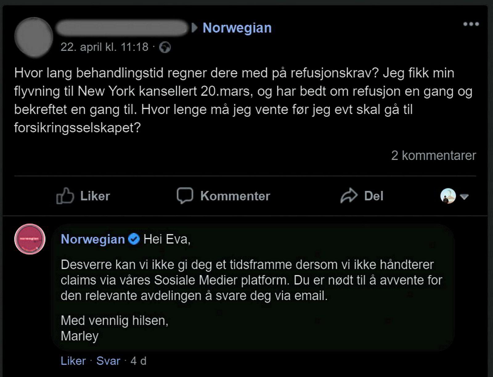 Norwegian bekrefter at de ikke overholder reglene for å refundere kansellerte flyreiser. En kunde etterlyste nylig pengene tilbake for en reise som var kansellert en måned tidligere.
