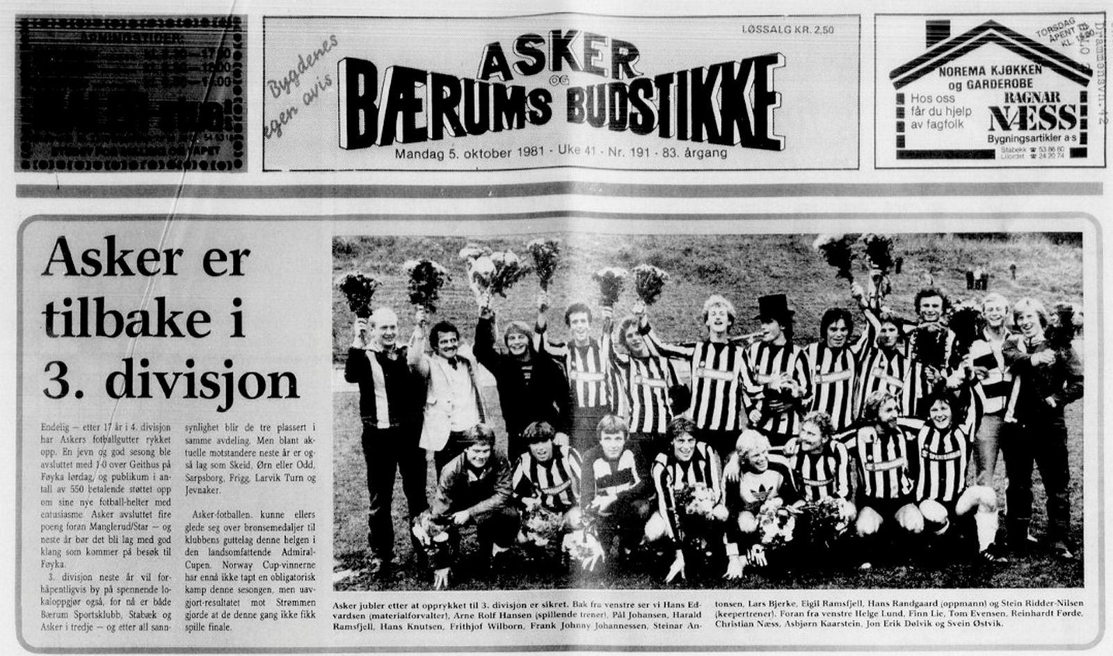1981-laget til Asker fotballklubb. Frithjof Wilborn i midten (til venstre for flosshatten). Helge Lund sitter nederst til venstre. Svein «Charter-Svein» Østvik sitter nederst til høyre.Ifølge Asker-rådmann Lars Bjerke, som også spilte på laget, var Wilborn best, Charter-Svein spiss og Helge Lund midtstopper. «Lund var omtrent like god som meg, ikke veldig god», sier Bjerke.