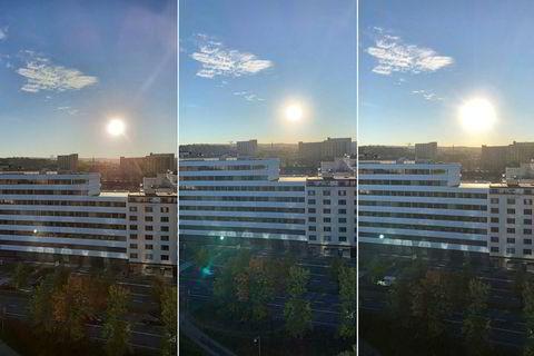 I denne utfordringen med motlys klarer Iphone XS (i midten) seg best. Solen og himmelen blir riktig, det er få effekter fra linsen og trærne i forgrunnen er mest detaljert. Note9 til venstre og Iphone X til høyre.