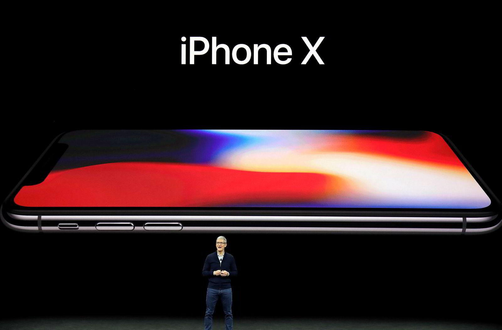 Iphone X har en skjerm nesten uten sidekanter og en ny måte å låse opp telefonen på.
