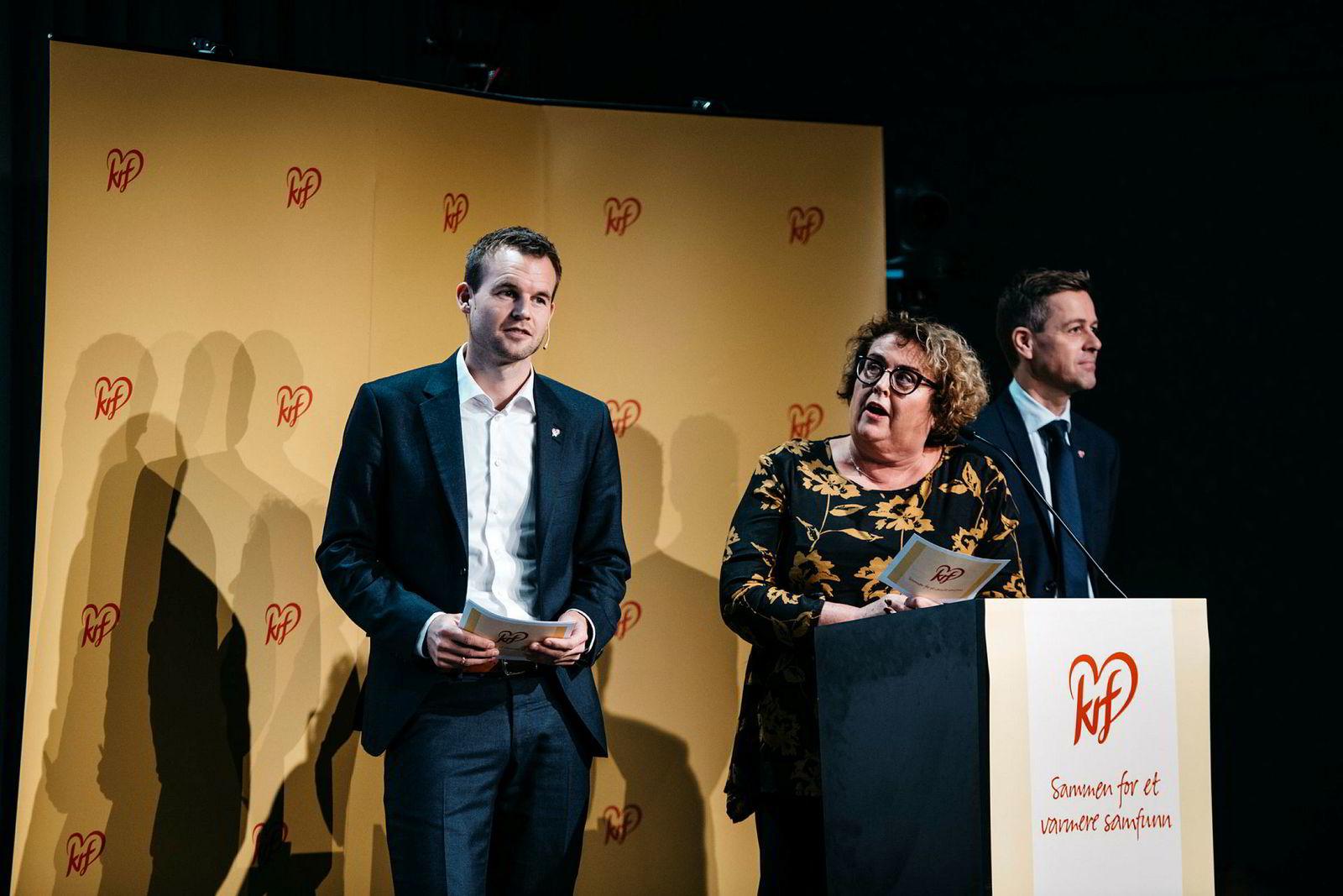 KrF har lenge gått inn for å utvide Vinmonopolets monopol til også å gjelde flyplassalg. Men neppe for å redusere prisene. Her Kjell Ingolf Ropstad (fra venstre), Olaug Bollestad og Knut Arild Hareide.
