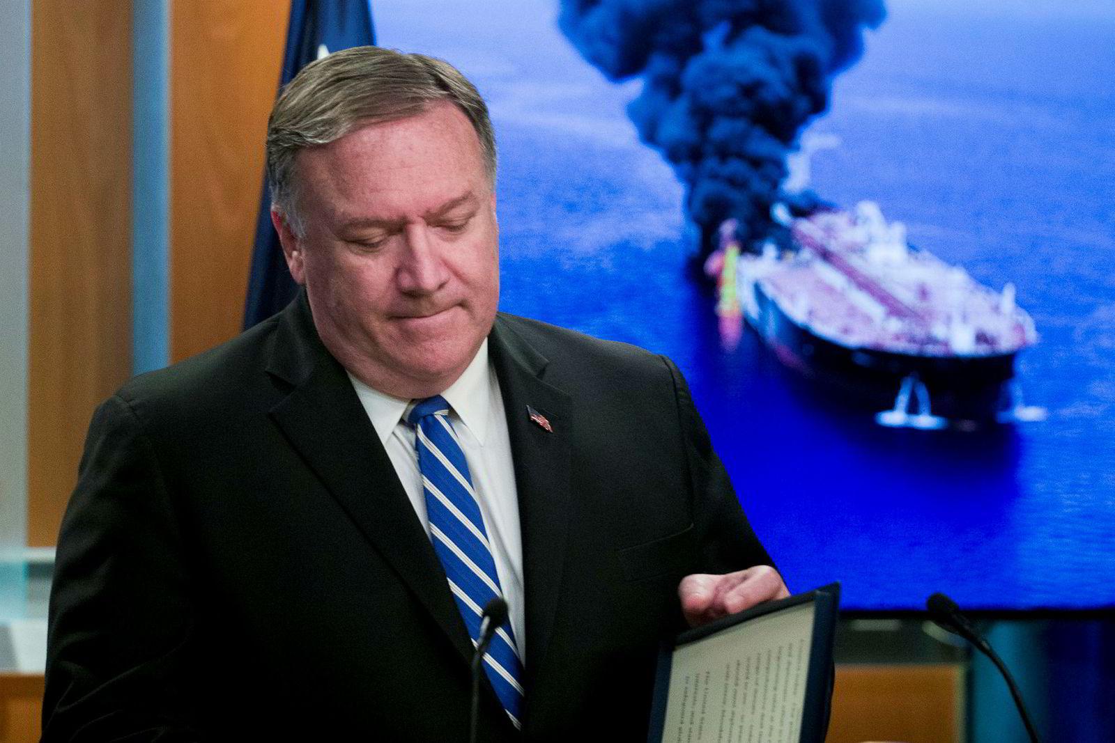 Utenriksminister Mike Pompeo er temmelig sikker i sin sak når han peker ut Iran som ansvarlig for angivelige angrep på to tankskip i Omanbukta torsdag.