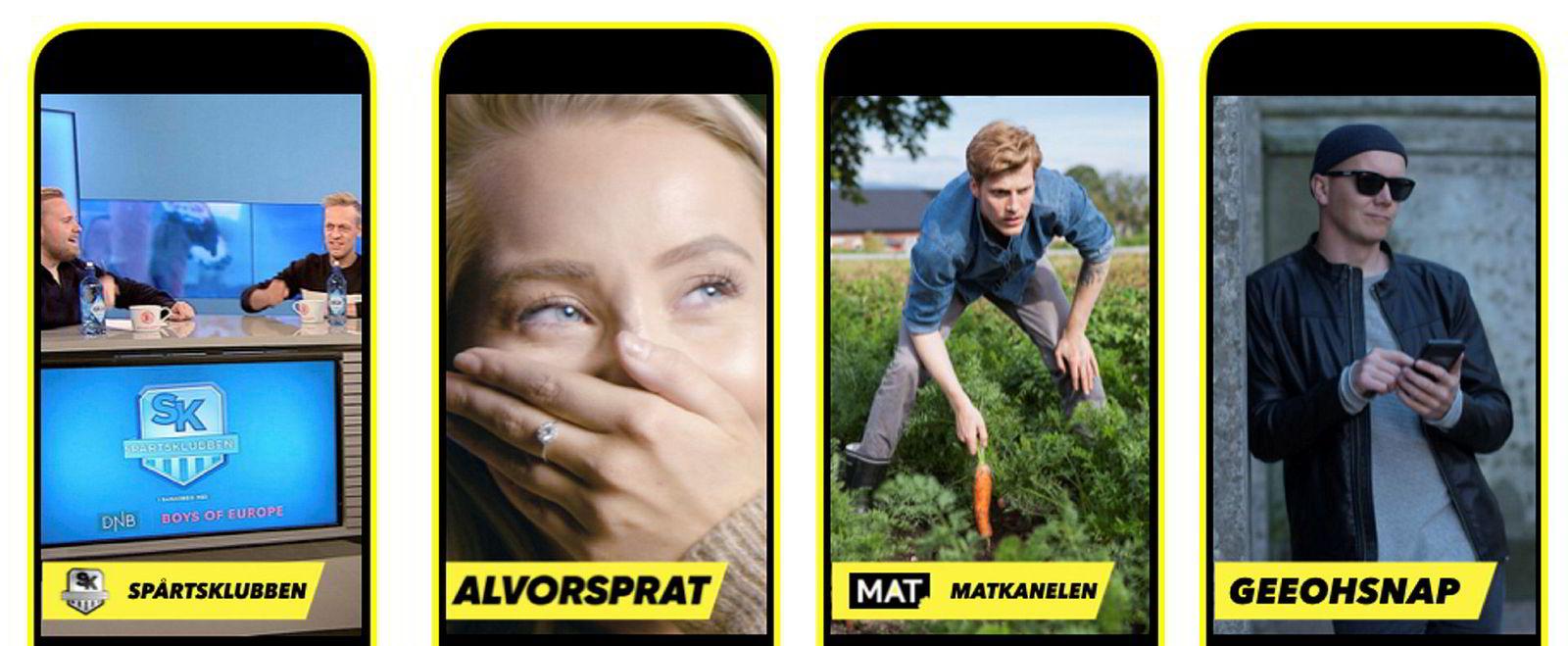 «Spårtsklubben» (VGTV), «Alvorsprat» (Splay), Matkanalen og geeohsnap er blant de norske aktørene som er å finne på «Snapchat Shows». De resterende «showene» er «Sportsbibelen» (Media 247 as), «Newton» (NRK) og «NRK Flippklipp» (NRK).