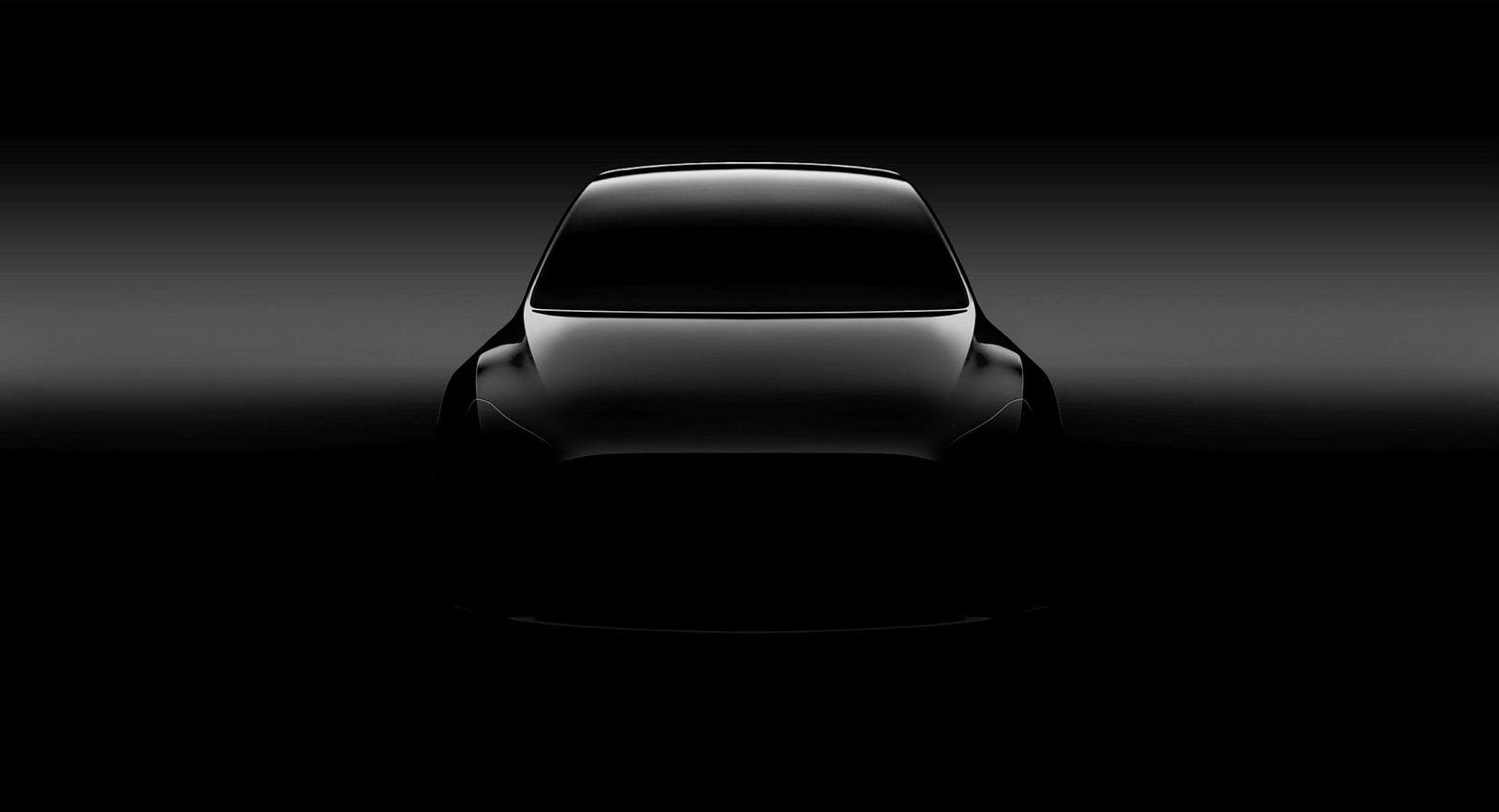 Den første smakebiten på Tesla Model Y i juni 2017. Modellen var da uten sidespeil.