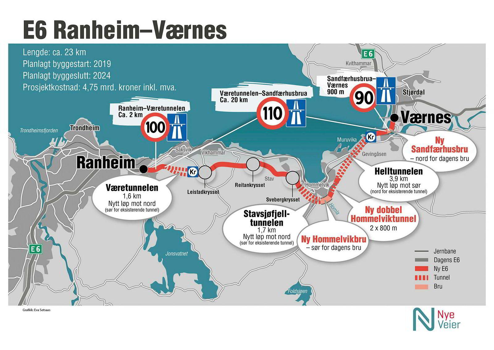 Her er Nye Veiers kart som viser veien mellom Ranheim og Værnes.