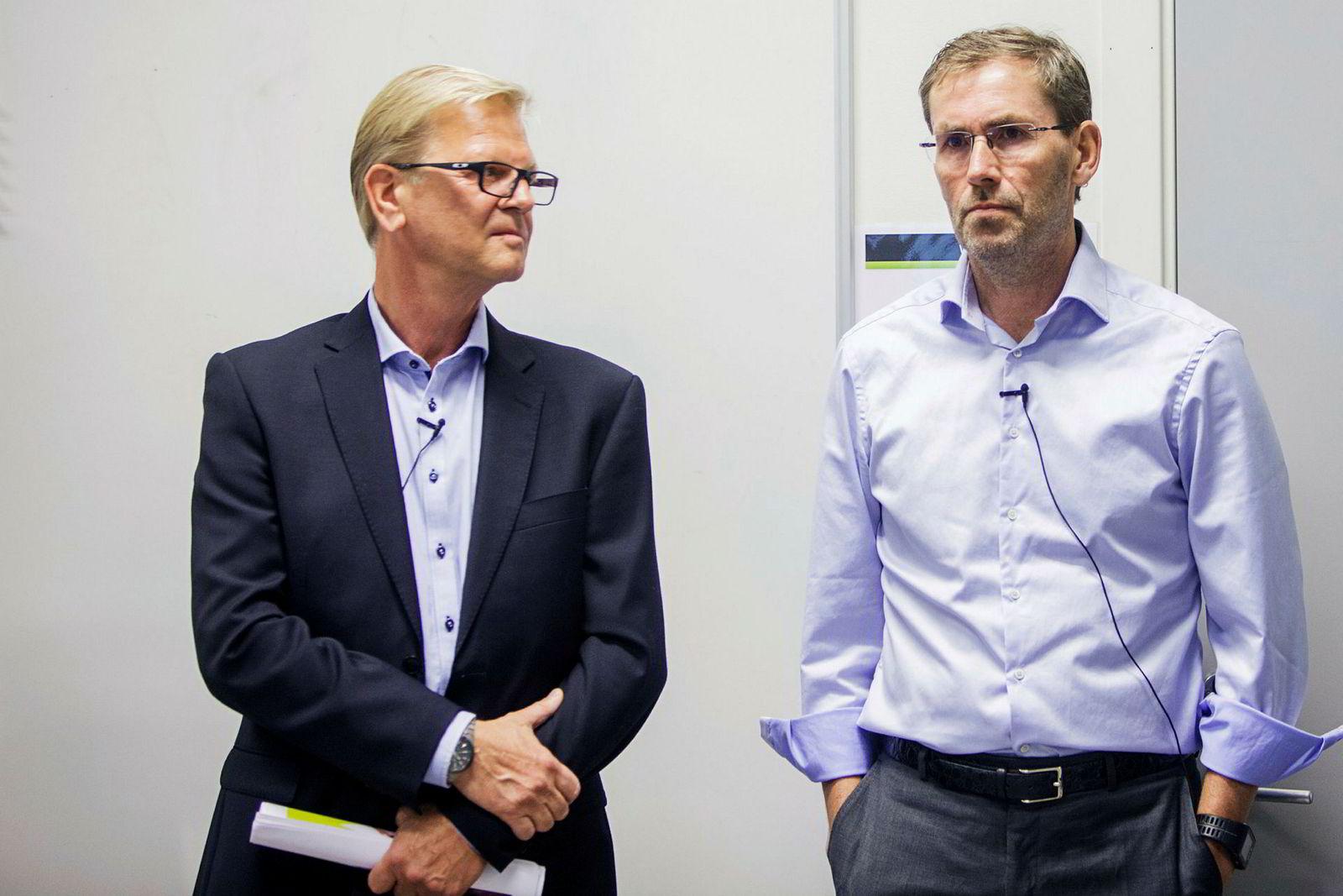 Ulf Bjerknes (til høyre) tok over for Fredrik Steenbuch (til venstre) som XXL-toppsjef 24. oktober. 55 dager senere er Bjerknes ferdig i stillingen.