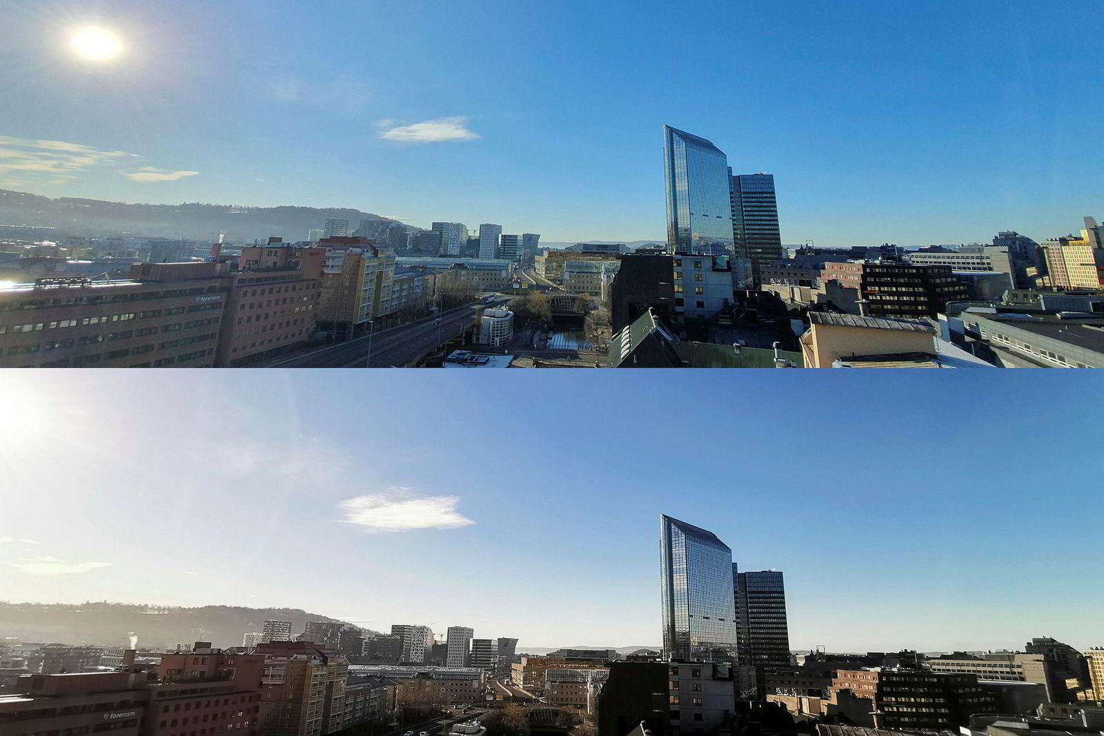 Ultra vidvinkel kan gi fine landskapsbilder. Galaxy S10+ øverst, Huawei Mate 20 Pro nederst.